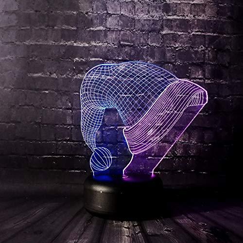 Kerstmuts 3D Illusie Lamp 3 Modi 7 Kleuren LED USB Aangedreven Slaaplamp Speelgoed voor Kinderen, Verjaardagscadeau, Nachtkastje Decoratie