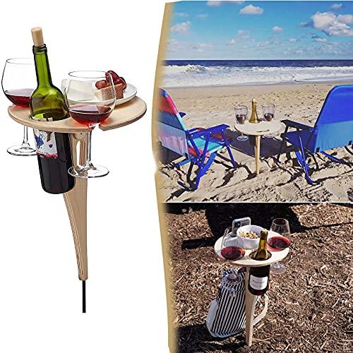 Mesa de Vino al Aire Libre/Mesa de Vino Plegable Mesa de Vino Plegable portátil Soporte de Copa de Vino para Picnic al Aire Libre