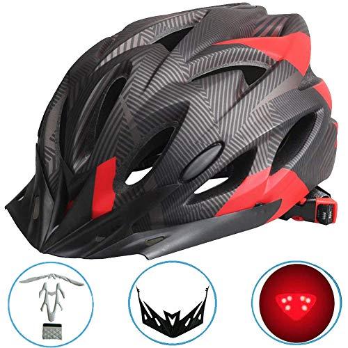BLLJQ Montaña Bicicleta Casco, Casco de Bicicleta de Ciclismo con Luz LED y Visera Extraíble, Tamaño Ajustable, Cómodo, Ligero y Transpirable, para Hombres/Mujeres Adultos,Black & Red