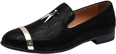 Heyikeyue Men's Genuine Leather Metallic Textured Slip-on Glitter Loafers Dress Shoes Smoking SlipperHeyikeyue Mens Loafers Smoking Casual Slipper Fashion Genuine Shoes