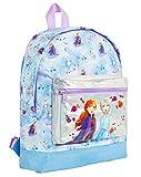 Disney Frozen 2 Mochila Escolar Infantil para Niñas Azul, Princesas Disney Anna Elsa El Reino del Hielo, Mochilas Disney Escolares Juveniles Bolsillo Delantero Plateado, Regalos para Niños