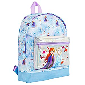 51pNPo5FOTL. SS300  - Disney Frozen 2 Mochila Escolar Infantil para Niñas Azul, Princesas Disney Anna Elsa El Reino del Hielo, Mochilas Disney Escolares Juveniles Bolsillo Delantero Plateado, Regalos para Niños