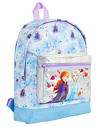 Disney Frozen 2 Backpack for Girls Anna and Elsa Holographic Design, School Bags for Girls and Teens, Large Blue Back Pack Disney Princess, Perfect Kids Rucksack for School Travel, Gift for Girls