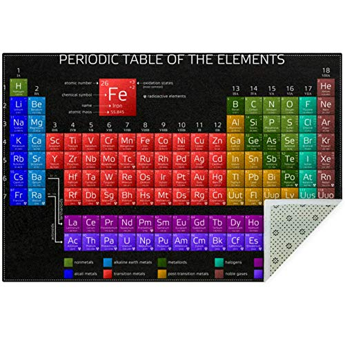 Bennigiry Periodic Table Of Elements Area Rugs Rug Mat Carpet for Living Room Bedroom Playing Room Carpets,60'x39'