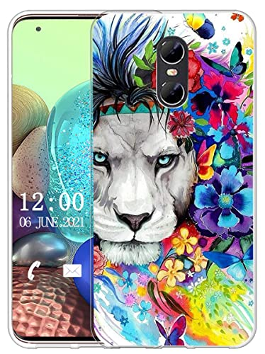 Sunrive Kompatibel mit Ulefone Gemini Hülle Silikon, Transparent Handyhülle Schutzhülle Etui Hülle (X Löwe)+Gratis Universal Eingabestift MEHRWEG
