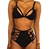 VANDOT Set Bikini da Donna Sexy Costumi da Bagno Bikini Push-up Cinghia da Vita Alta Slim Fit Top Bottom Set Bagno Beachwear - Nero, Size M