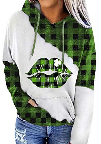 EFOFEI Women's St. Patrick's Day Green Hoodie Long Sleeve Tops with Kangaroo Pocket Casual Sweatshirt Lips 2XL
