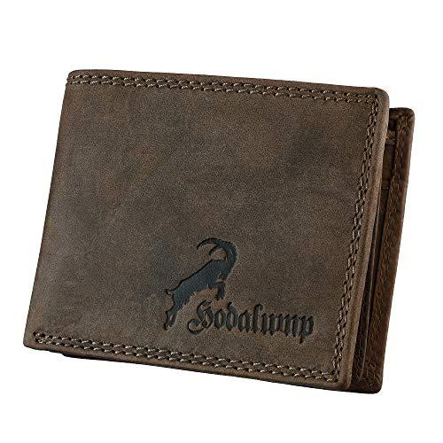 Hodalump Echt-Leder Geldbörse • Geldbeutel für Damen und Herren mit RFID-Schutz • Portmonee inkl. Geschenkverpackung • Farbe: Braun mit Steinbock & Hodalump Prägung