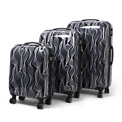 MasterGear Designer Luggage Set with ABS Hard Shell – Set of 3 Suitcases with 4 Spinner Wheels (360 degrees) and Combination Lock – Stackable, S, M & L