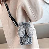 Samsung Galaxy S8 Plus Rabbit Fur Case with Fluffy Bunny Ears - Samsung Galaxy S8 Plus Gray Furry Fuzzy Phone Case for Woman Girls, Soft Cute Plush Winter Warm Cover with Crossbody Strap