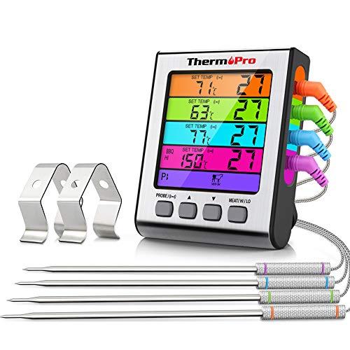 ThermoPro TP17H Digitales Grill-Thermometer Bratenthermometer Fleischthermometer Ofenthermometer mit 4 Edelstahlsonden, Blaue Hinterbeleuchtung, Temperaturbereich bis 300°C
