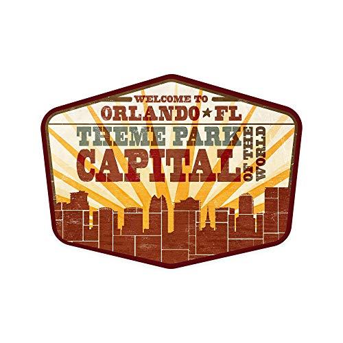 Orlando, Florida – Skyline and Sunburst estilo serigrafiado – Contour 90711 (calcomanía troquelada de vinilo, interior/exterior)
