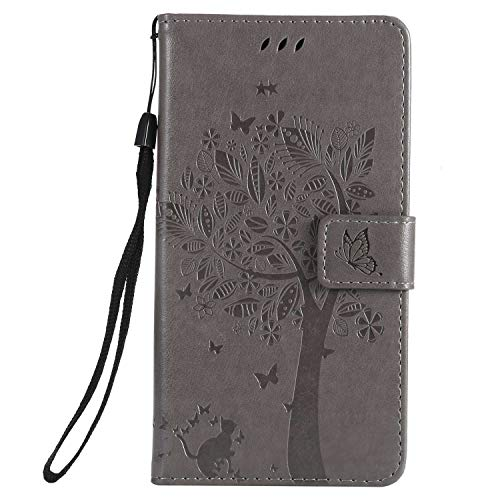 CUSKING Wallet Case for Samsung Galaxy J7 Duo, Stand Flip Folio Case with Card Holder, Galaxy J7 Duo Embossed Design Leather Notebook Style Cover, Gray