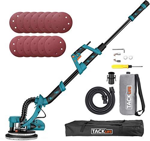 TACKLIFE Levigatrice a Secco, 800W Ф225mm Levigatrice per Muro con Luce LED...
