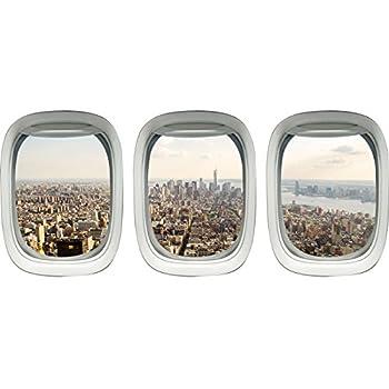 VWAQ - NYC Wall Sticker - New York City Window Decal - Airplane Window Clings for Kids -PPW44