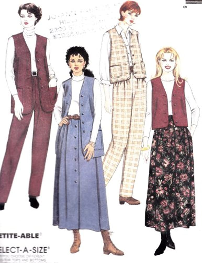 McCall's 8350 Misses' Lined Vest in 2 Lengths, Pull-on Pants and Skirt, Size E 14 16 18