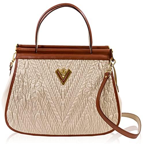Valentino Orlandi Women's Medium Handbag Italian Designer Messenger Bag Ivory Embroidered Genuine Leather Purse