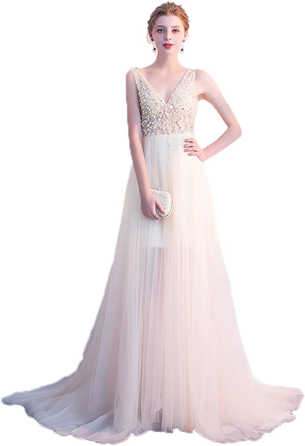 Huifany Women's Sexy Deep V Neck Prom Dress Sequins Beaded Tulle Long Evening Dresses