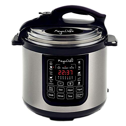 MegaChef MCPR120A 8 Quart Digital Pressure Cooker with 13 Pre-set Multi Function Features, Stainless Steel