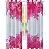 Cortinas opacas para dormitorio, pétalos de flores de buganvilla que proyecta al agua, impresión espiritual femenina, 52 x 84, cortinas opacas para dormitorio, color rosa