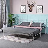 <span class='highlight'><span class='highlight'>EGGREE</span></span> Single Double Day Bed Scrub Metal Guest Bed Frame Sofa Bed with Pull Out Guest Trundle Bed - Ivory Beige