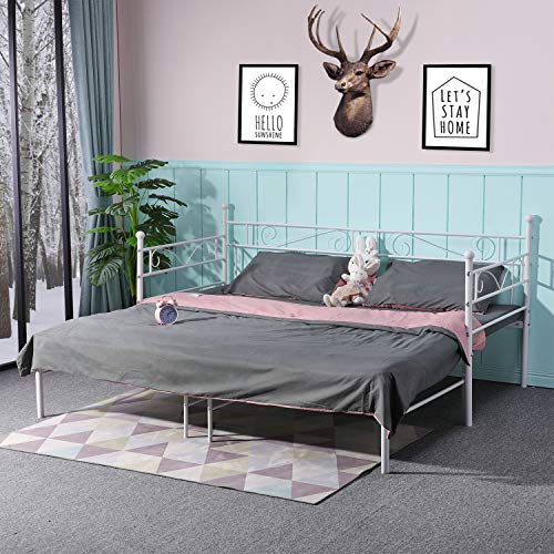 LiePu Tagesbett Schlafsofa mit Ausziehbett, Metallbett Jugendbetten Gästebett, Weiß Doppel-Bett Bettsofa, 90x190cm