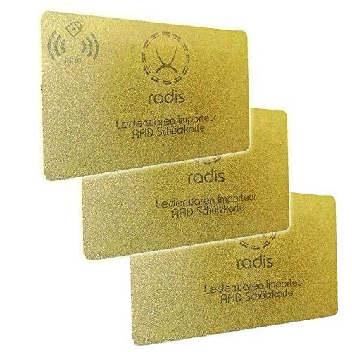 RFID Blocker Karte NFC Schutzkarte Blocking Card für Kreditkarten, Geldbörse, Personalausweis, Kreditkartenetui, EC (Gold Premium 13,56 MHz, 3)
