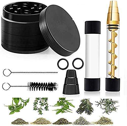 Glass Tube Kit with Herb Grinder for Herbs and Spices with with 2 x Glass bottle 4 x O-Rings 2 x Rubber Caps 2 x Cleaning Brush 1 x Packing Box