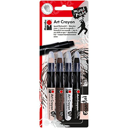 Marabu Creative Art Crayon Set 4/Pkg-Essentials-Flesh, Cocoa, White & Black