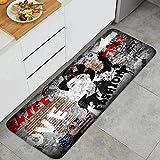 Cocina Antideslizante Alfombras de pie Adolescente Moderna sobre Fondo Grunge Decoración de Piso Confortables para el hogar, Fregadero, lavandería-120cm x 45cm