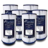 ClurTech FRX-4301-6 Replacement 6 Pack AquaTerra 50 Sq Ft Spa Filter Cartridge PFF42TC-P4 5ch-37 FC-2402 AK-4301 303279 AQUAAK-4301 HSAK-4301, White