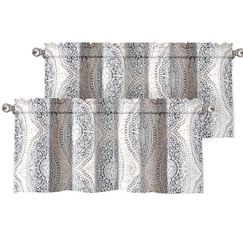 DriftAway Adrianne Damask and Floral Pattern Window Curtain Valance 2 Pack 52 Inch by 18 Inch Plus 2 Inch Header Beige and Gray