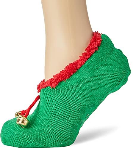 BRAVE SOUL 468ELF, Calcetines de Estar por casa Mujer, Rojo Verde, Talla única