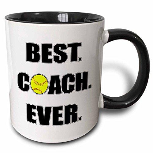 3dRose Softball Best Coach Ever Mug, 11 oz, Black