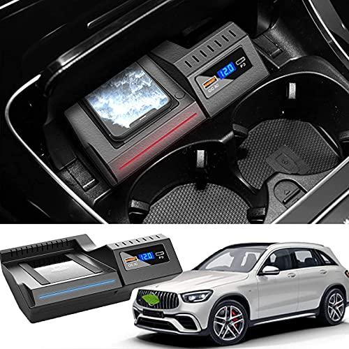 QXIAO Cargador de Coche Inalámbrico para Mercedes Clase C Clase GLC 2016-2021 Consola Central Panel de Accesorios Panel de Carga de Teléfono Inteligente QI Carga Rápida Inalámbrica 15W