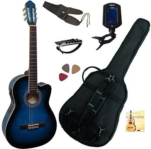PACK Guitare Électro-Classique Bleue Cordes D addario 6 Accessoires