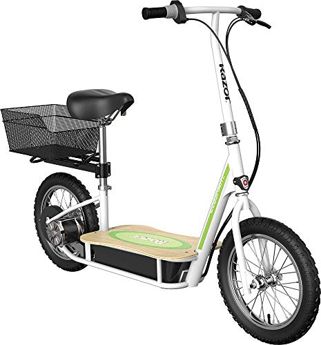 "Razor EcoSmart Metro Electric Scooter For Adults - 500W High Torque Motor, Up to 18MPH, 16"" Air Filled Tires, Rear Wheel Drive, Height Adjustable Seat and Detachable Luggage Basket, Bamboo Deck"