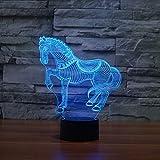 orangeww Lovely Horse 3D LED Veilleuse 7 Couleur Dimming illusion Chambre Lampe Holiday LightEnfant Enfants Jouets Pour...