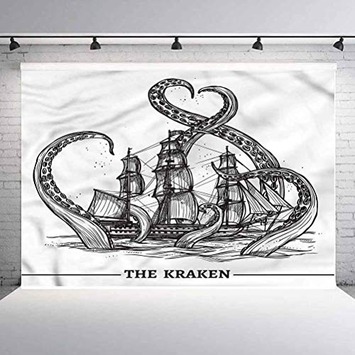 7x7FT Vinyl Photo Backdrops,Nautical,Octopus Ship Adventure Background for Selfie Birthday Party Pictures Photo Booth Shoot