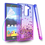 Zingcon Suit for LG K8 V Phone Case,K8V,VS 500 Glitter Quicksand Case,with HD Screen Protector,Shockproof Hybrid Hard PC Soft TPU Bling Adorable Shine Protective Cover-Blue/Purple