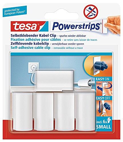 tesa Powerstrips® Kabel-Clip, selbstklebend, spurlos wieder ablösbar, weiß (3 Packungen = 15 Clips)