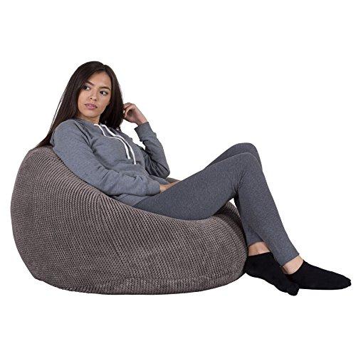 Lounge Pug, Klassischer Sitzsack Sessel, Pom-Pom Anthrazit