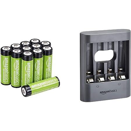 Amazon Basics Piles Rechargeables AA 2000mAh (Lot de 12) - Pré-chargées & Chargeur de Nuit USB - Noir