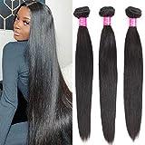 Brazilian Straight Bundles (30 30 30 Inch) 100% Unprocessed Virgin Human Hair Bundles Straight Hair Extensions Weave Bundles Straight Hair Natural Color