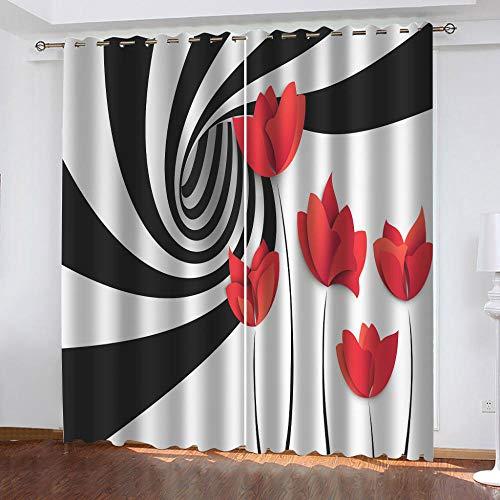 MXYHDZ Cortinas Opacas de Salon - Líneas blancas y negras flores rojas Impresión 3D, Dormitorio Aislantes Termicas con Ollaos - 150 x 166 cm para Oficina y salón, Dormitorio habitación de los niños, 2