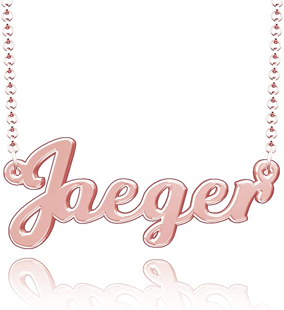 LoEnMe Jewelry Customized Jaeger Name Necklace Stainless Steel Plated Custom Made of Last Name Gift for Family