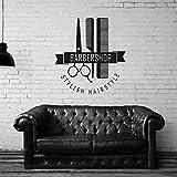 ASFGA Herramienta de barbería Popular Moderna Pegatinas de calcomanía Personalizada póster Vinilo Pared Arte decoración Ventana Corte de Pelo Navaja Vidrio calcomanía 58x63cm