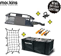 Mockins Hitch Mount Cargo Carrier with Cargo Bag and Net  The Steel Cargo Basket is 60 Long X 20 Wide X 6 Tall with A Hauling Weight of 500 Lbs & A Folding Shank to Preserve Space When Not in Use … …