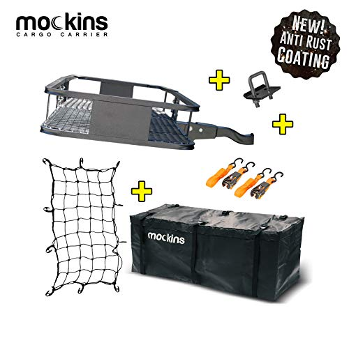 Mockins Hitch Mount Cargo Carrier with Cargo Bag and Net |The Steel Cargo Basket is 60 Long X 20 Wide X 6 Tall with A Hauling Weight of 500 Lbs & A Folding Shank to Preserve Space When Not in Use … …