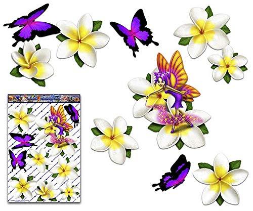 JAS Stickers® Fee Fantasie Frangipani Plumeria Weiß Blume + Schmetterling Tier Abziehbild Große Auto Aufkleber pack für Laptop Fahrrad Wohnwagen LKWs & Boote - ST00062WT_LGE